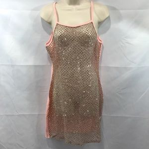 Dresses & Skirts - See through glitter pink cover up bodycon dress